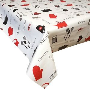 Image Is Loading Pvc Table Cloth Kitchen Red Black Grey Silver