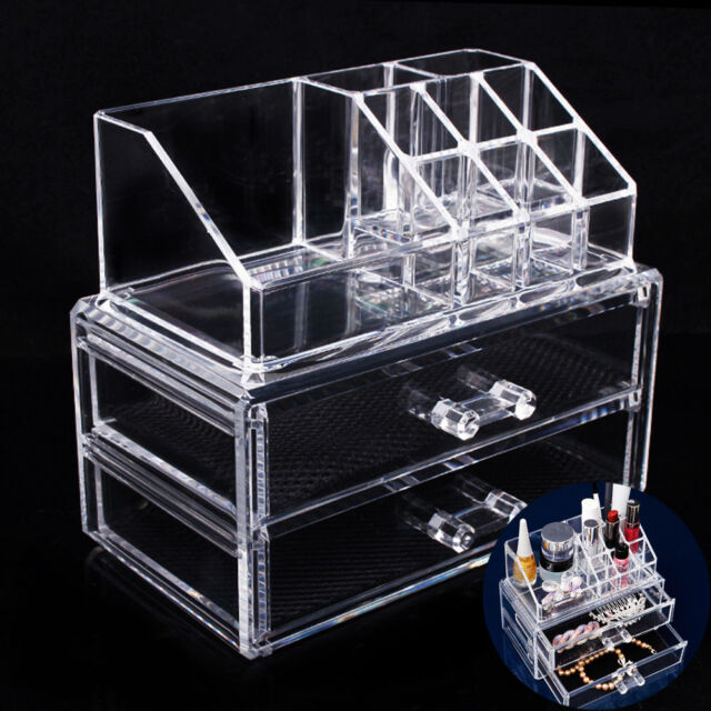 Clear Acrylic Makeup Cosmetic Organizer Drawer Case Storage Insert Holder Box