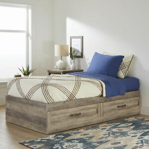 Space Saver Wood Finished Kid Teen Twin Bed Storage Drawers Rustic Gray Finish Ebay