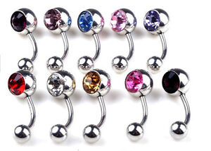 2-10x-Stainless-Steel-Crystal-Belly-Button-Ring-Navel-Bar-Body-Piercing-Jewelry