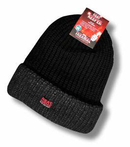Thermo-Winter-Muetze-mit-Umschlag-EXTREM-WARM-Heat-Keeper-TOG-3-4-schwarz-grau