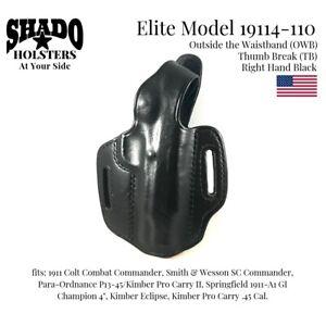 SHADO Leather Holster USA Elite Model 19114-110 Right Hand Black OWB TB 1911