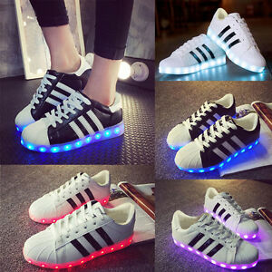 SAGUARO LED Light Shoes Lace Up Sneakers Sportswear Men Women Striped Luminous