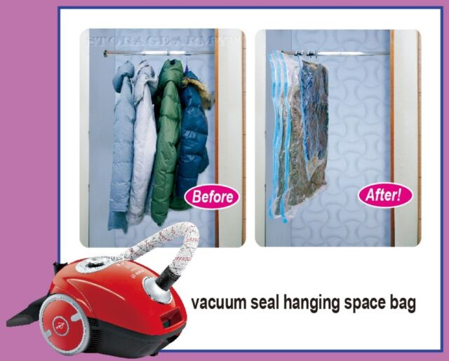 5x Jumbo Vacuum Seal Hanging Garment Bags E Saver Saving Suit Storage Bag