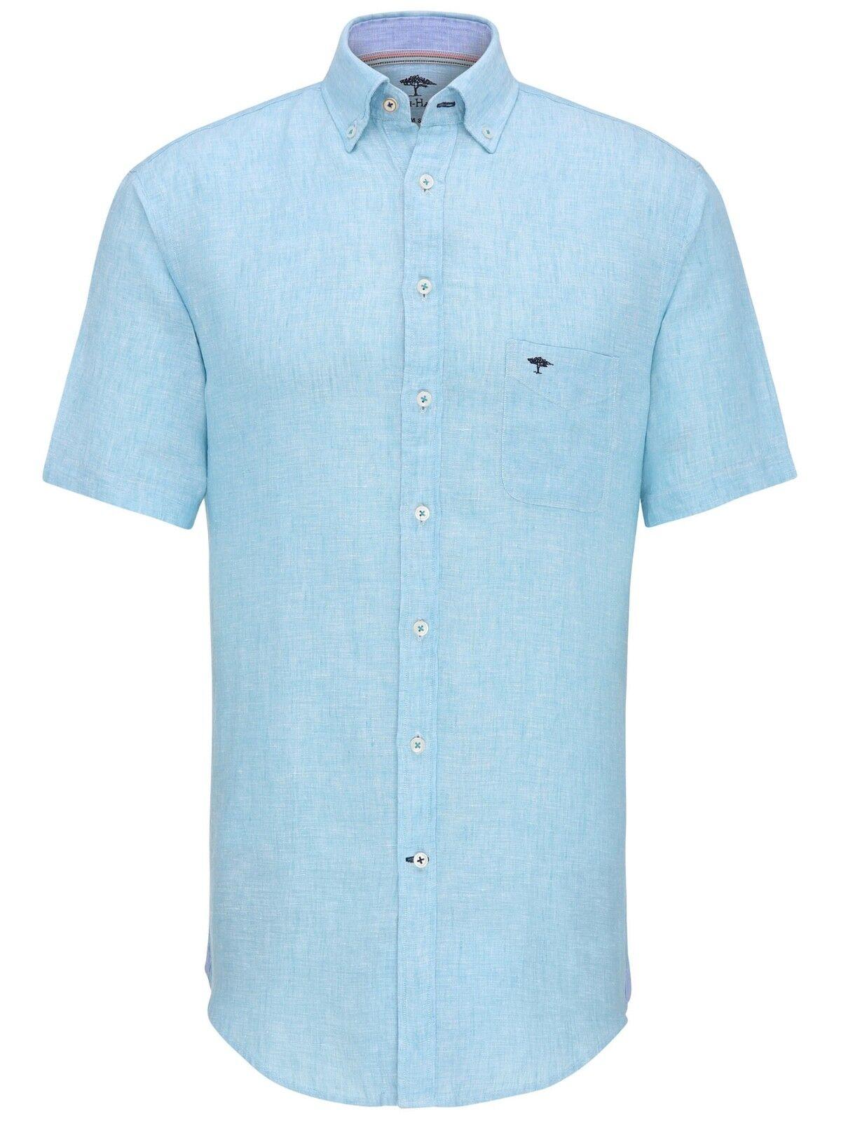 FYNCH HATTON® Linen Short Sleeve Shirt Aqua - 3XL  SS18 SALE