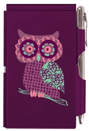 WOW! #8964 WELLSPRING PURPLE OWL ALUMINUM FLIP NOTE CASE PAD WITH PEN