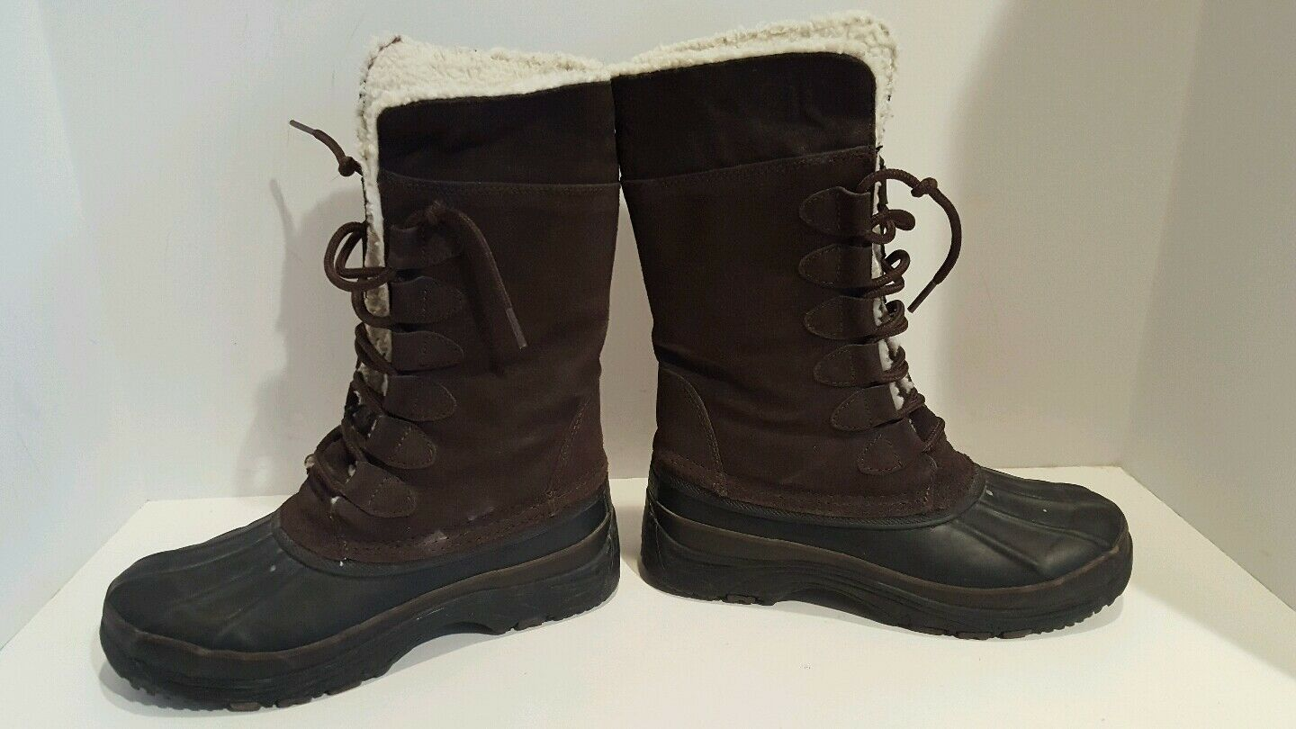 Khombu womens brown suede winter boots size 6