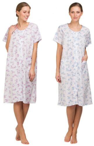 Women Lady Olga Poly Cotton Nightie Short Sleeve Nightdress 10//32 Knee Length