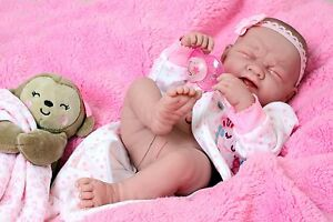Crying-American-Reborn-Baby-Alive-Girl-Doll-Vinyl-14-034-Newborn-Preemie-Life-like