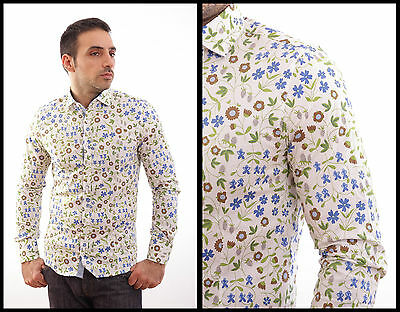 NWT PAUL BRAND Made in Italy Hawaii Floral Slim Shirt Muscle Fit M L XXL XXXL