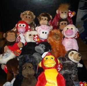 W-F-L TY Beanie Monkey Chimpanzee Gorilla Selection Approx. 7 7/8in Stuffed Toy