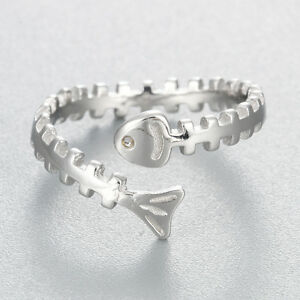 Unique-Lovely-Fish-Bones-Open-Finger-Ring-925-Silver-Gift-Women-Jewelry-Bijoux