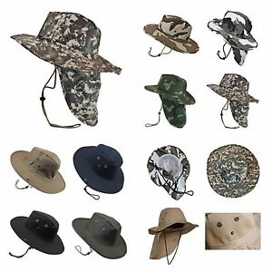 ac9bbbca6cf Bucket Cap Fishing Hiking Army Military Neck Cover Sun Flap Hunting ...