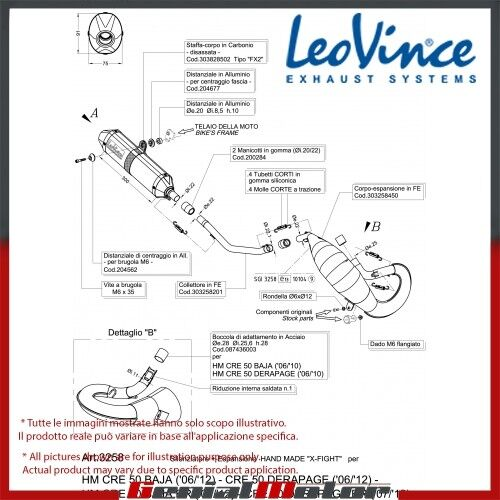 HM CRE 50 DERAPAGE RR/BAJA 50 RR 2011 11 LEOVINCE EXHAUST FULL X-FIGHT STEEL