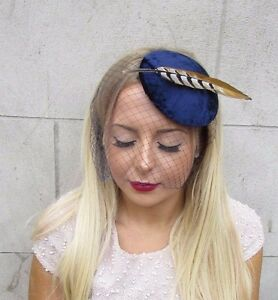 e7861682a11 Image is loading Navy-Blue-Birdcage-Veil-Pheasant-Statement-Feather- Fascinator-