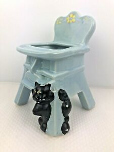 Vintage SHAWNEE Pottery BABY High Chair w CAT Small Succulent Planter Pot USA