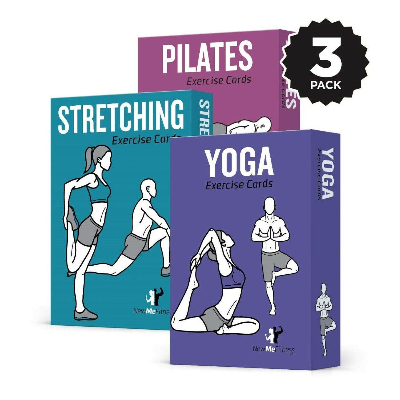 Paquete De 3 Tarjetas De Ejercicio Fitness newme    Yoga, Estiramiento, Pilates   50 Streng..  salida de fábrica
