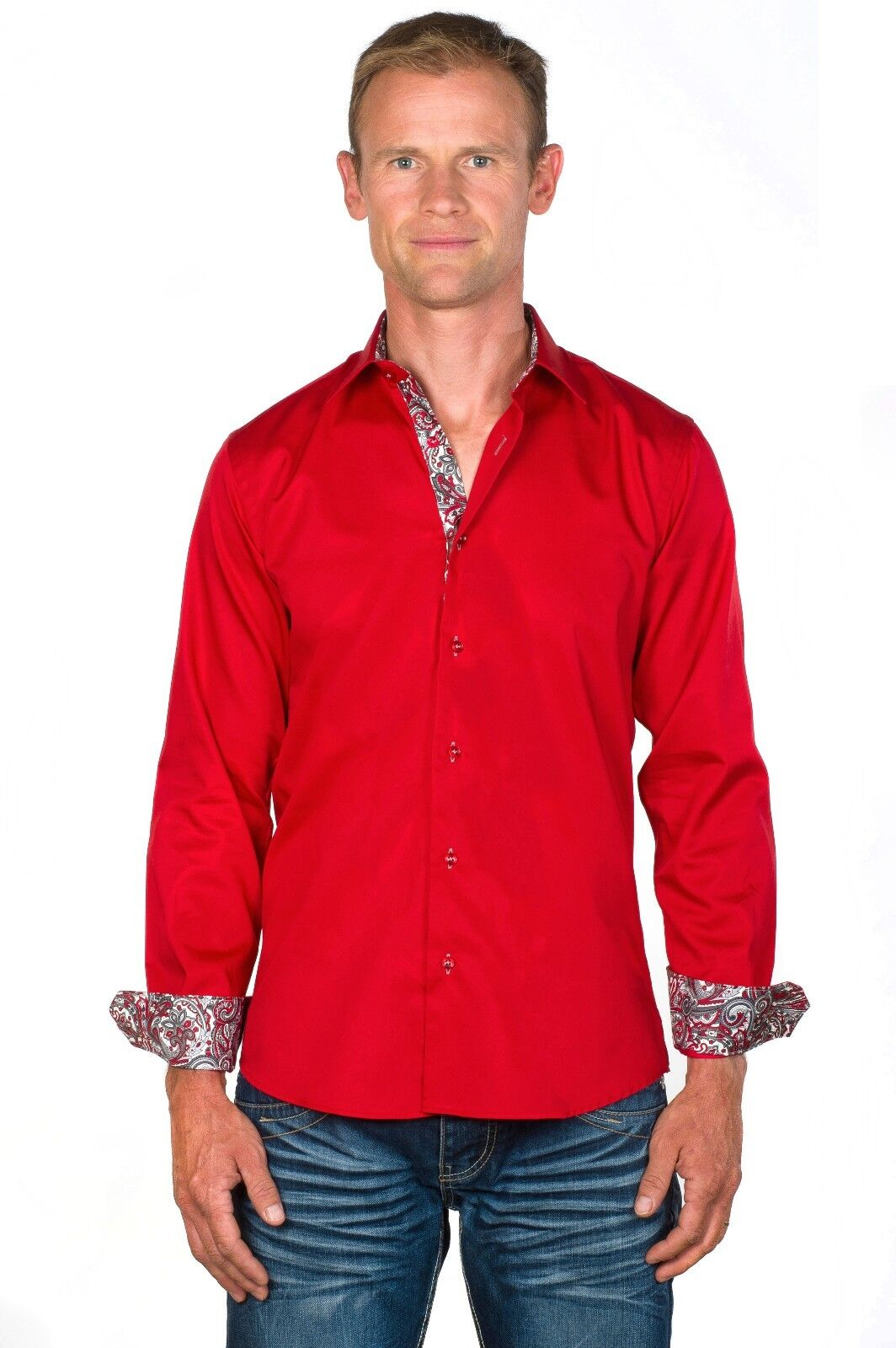 Ugholin Men's Slim Fit Easy Iron Cotton Long Sleeve Red Dress Shirt