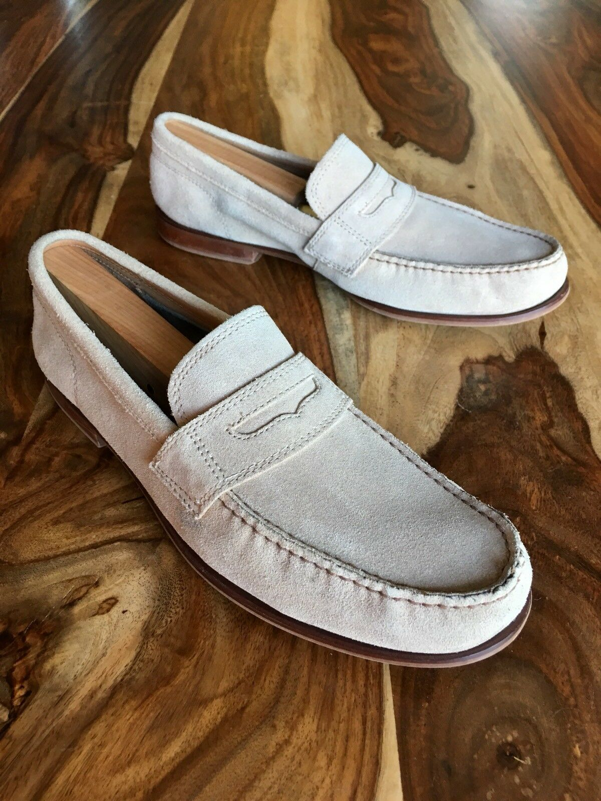 Cole Haan Beige Suede Slip On Penny Loafers Mens US Size 10 M