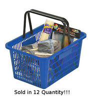 12 Blue Individual Shopping Basket With Break-resistant Plastic Handles