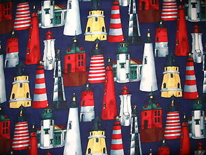 Lighthouse-Seagull-sailboat-dolphin-sea-cotton-quilt-fabric-Choose-design-size