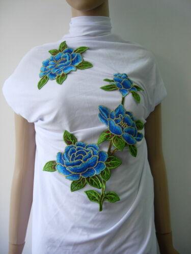 VT422 Aqua-Tone Floral Peony Rose Trims Venise Applique Set Sew On Fashion Dress