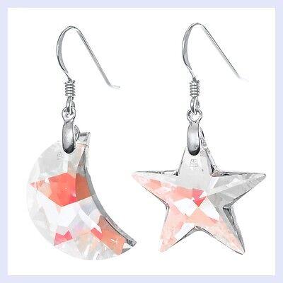 Moon & Star Swarovski Element Crystal Dangle Sterling Silver French Hook Earring