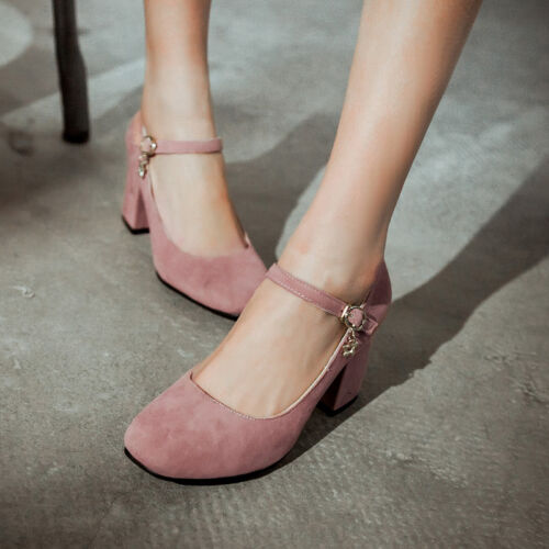 Damen Schuhe Pumps Blockabsatz Fessel Knöchelriemen Gr.34-39 Knöchelschnalle