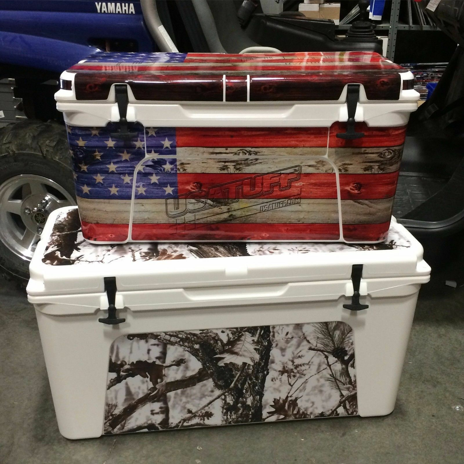 USATuff Decal Wrap Full Kit fits IGLOO Sportsman 70qt USA Cooler USA 70qt Blau Line Flag aa3b43