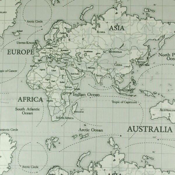 Black And White World Map 100% Cotton Half Panama Fabric