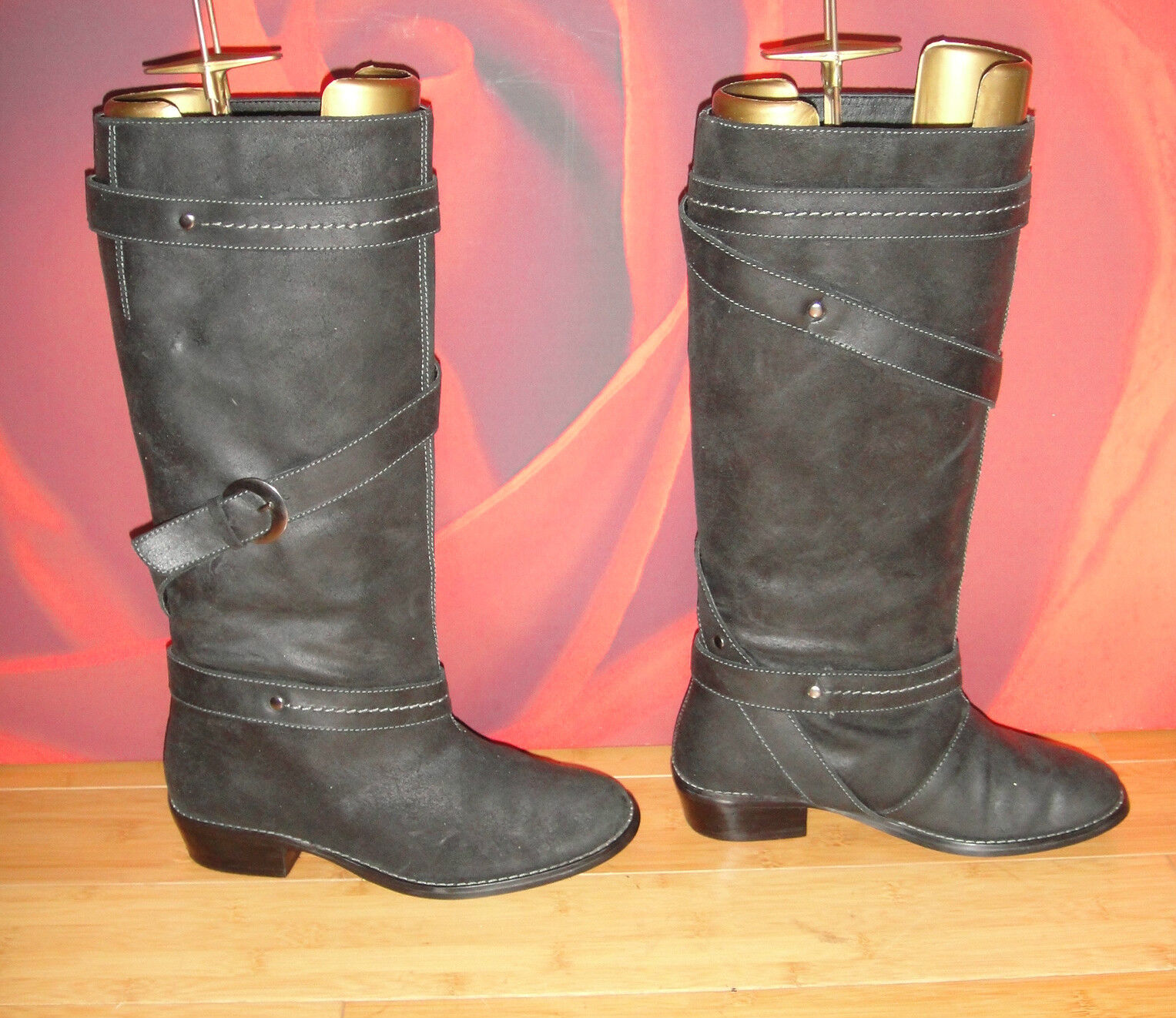 41 DgoldTHY PERKINS BLACK DISTRESSED LEATHER RIDING STYLE BOOTS  UK 4 EU 37
