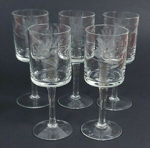 Etched Sherry Cordial Glass Clear Set of Five (5) Vintage Footed Stemware 2 oz