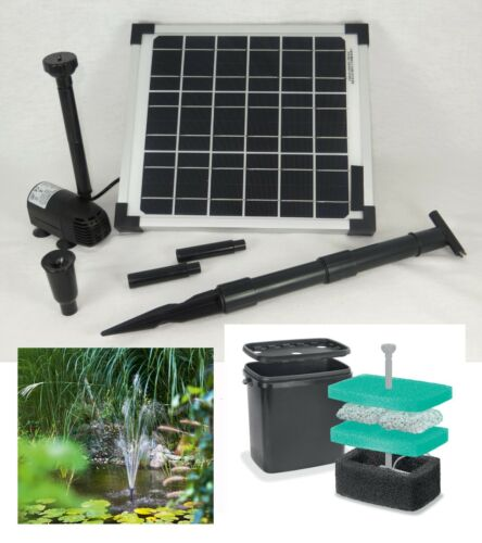 10 W Solar Gartenteich Teich Pumpe Filter Pumpenset Tauch Springbrunnen Garten