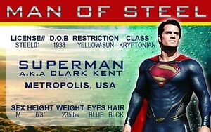 Superman Of License Drivers Kent Ebay Card Krypton Man Id Clark Steel Kal-el The