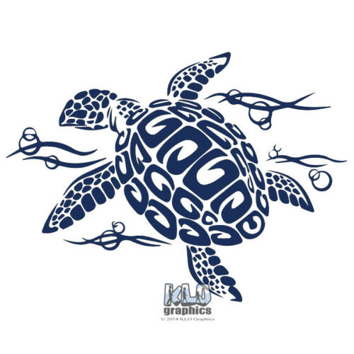 Decal Design Scuba Diver Surfer TRIBAL TRIBAL TURTLE in OCEAN Vinyl Sticker