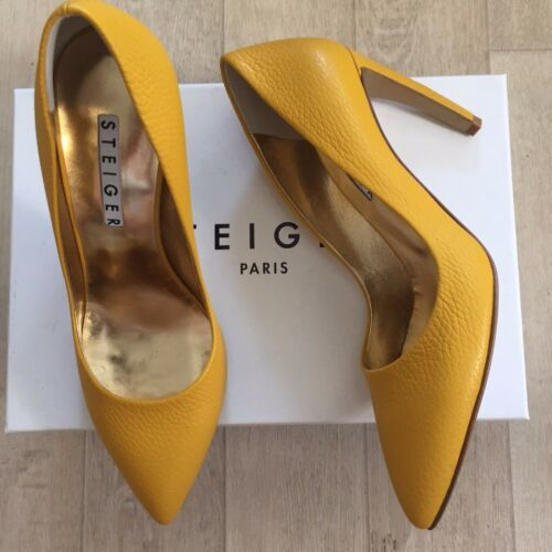 "Walter Steiger Pumps 36 37 38 39 Yellow Point Toe Stiletto Curved Heel 3.9/"" NIB"