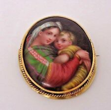 "ANTIQUE Large 14K GOLD & HAND PAINTED Porcelain- RAPHAEL""S MADONNA OF THE CHAIR"