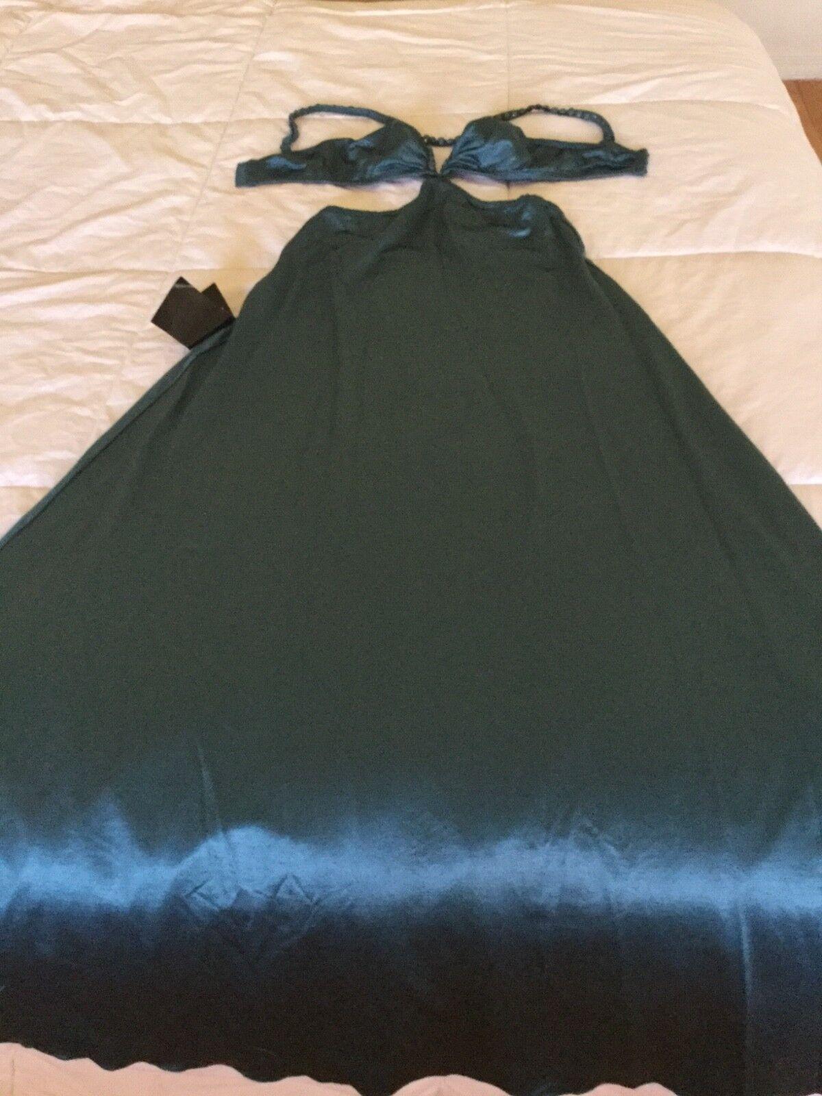 BEBE teal bluee green maxi dress cut off SEXY xs NEW