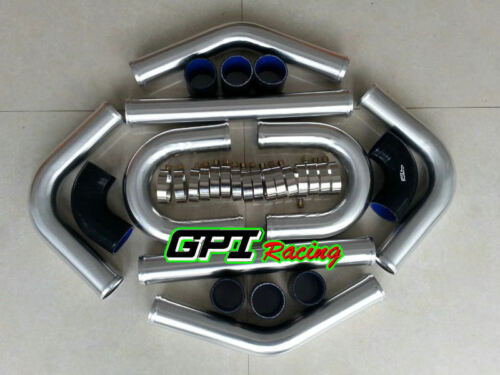 "3"" 76 mm Aluminum Universal Intercooler Turbo Piping pipe & BLK hose kits"
