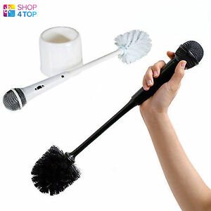 MICROPHONE-MIC-TOILET-WC-BRUSH-HOLSTER-WHITE-BLACK-FUNNY-ORIGINAL-NOVELTY-GIFTS