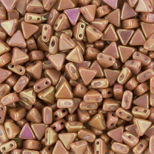 Czech-Kheops-Par-Puca-2-Hole-Beads-Opaque-Rose-Luster-6mm-9g-Tube-K103-8