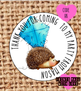 Hedgehog party stickersparty bagsweet cone labels24HK cute Woodland