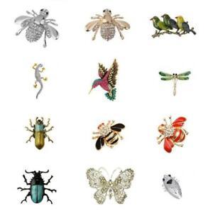 Vintage-Enamle-Rhinestone-Bee-Beetle-Butterfly-Insect-Bug-Pin-Brooch-Breastpin