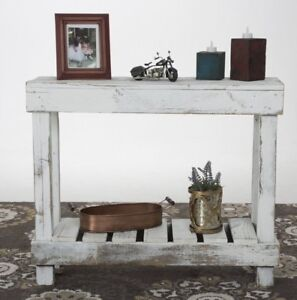 Astounding Details About Small Rustic Console Table Handmade Solid Wood Shelf Weathered Reclaimed White Beatyapartments Chair Design Images Beatyapartmentscom