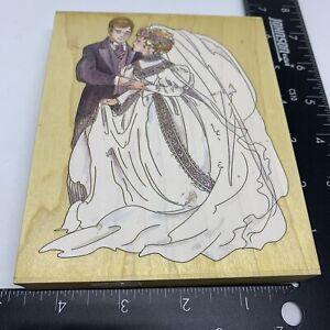 Stamps Happen Rubber Stamp Bride and Groom #90038 Wedding Shower Wood Mount