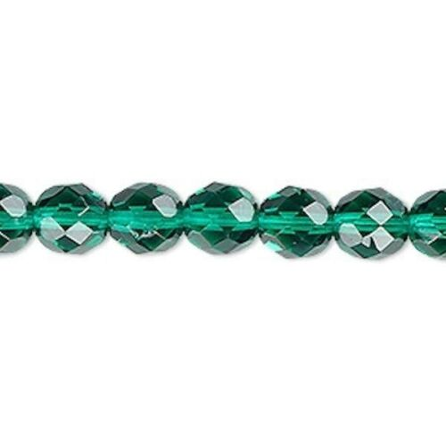 50 Teal Green Czech Fire Polished Glass 8mm Round Beads