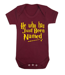 He Who has Just Been Named Harry Potter Inspired Baby Vest Babygrow Baby Shower