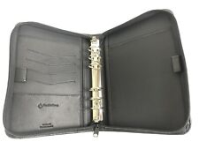 Franklin Covey Black Leather Classic Planner Binder Organizer Case Zip 6 Rings