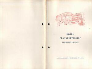 Vintage HOTEL FRANKFURTER HOF FRANKFURT AM MAIN Restaurant Menu Germany 1961
