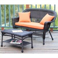 Jeco Wicker Patio Love Seat And Coffee Table Set In Espresso With Orange Cushion